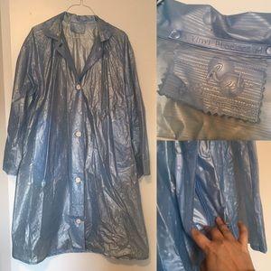 Vintage Frost Blue Lightweight Vinyl Rain Coat